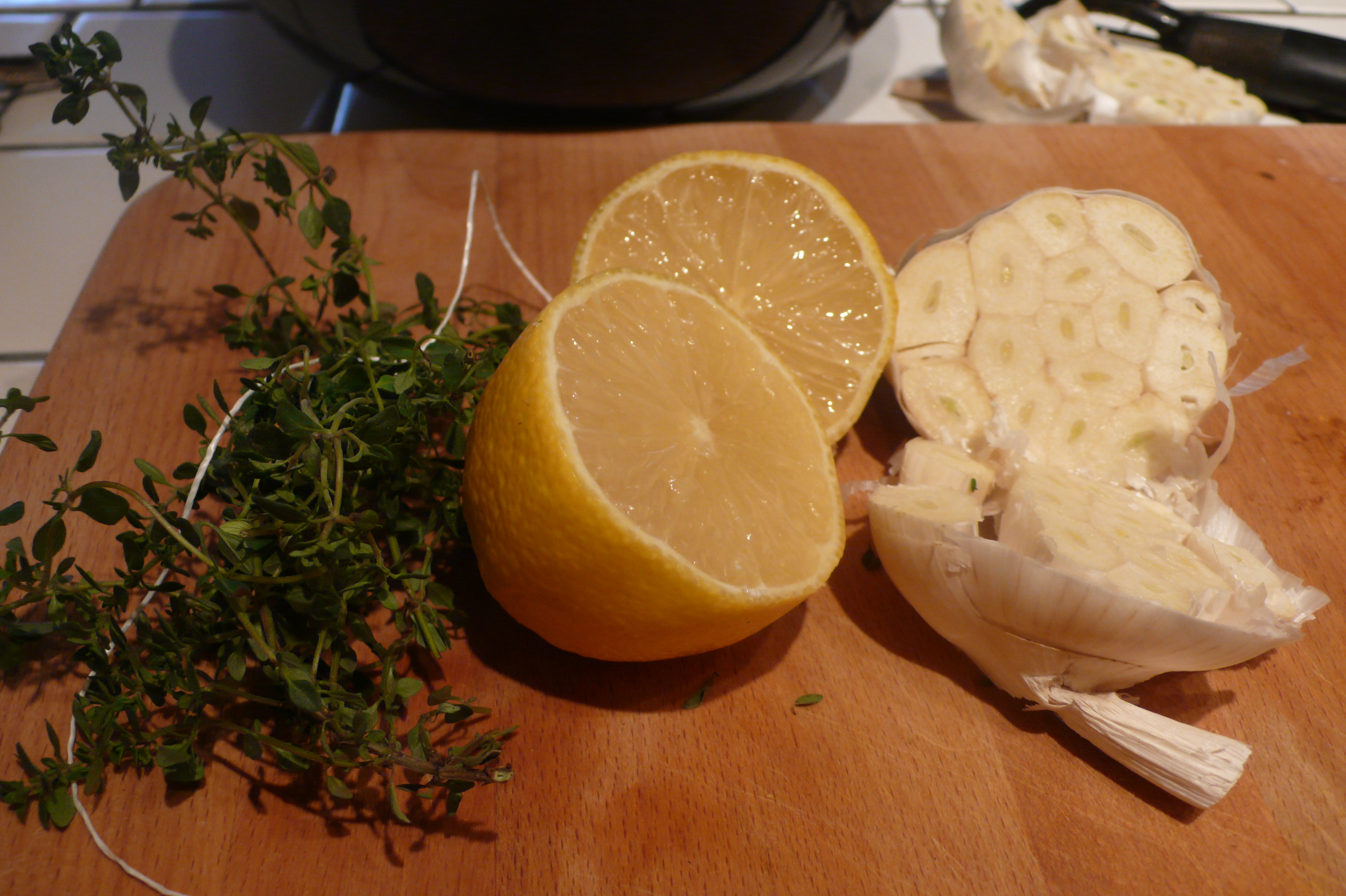 lemon, thyme and garlic to stuff inside chicken
