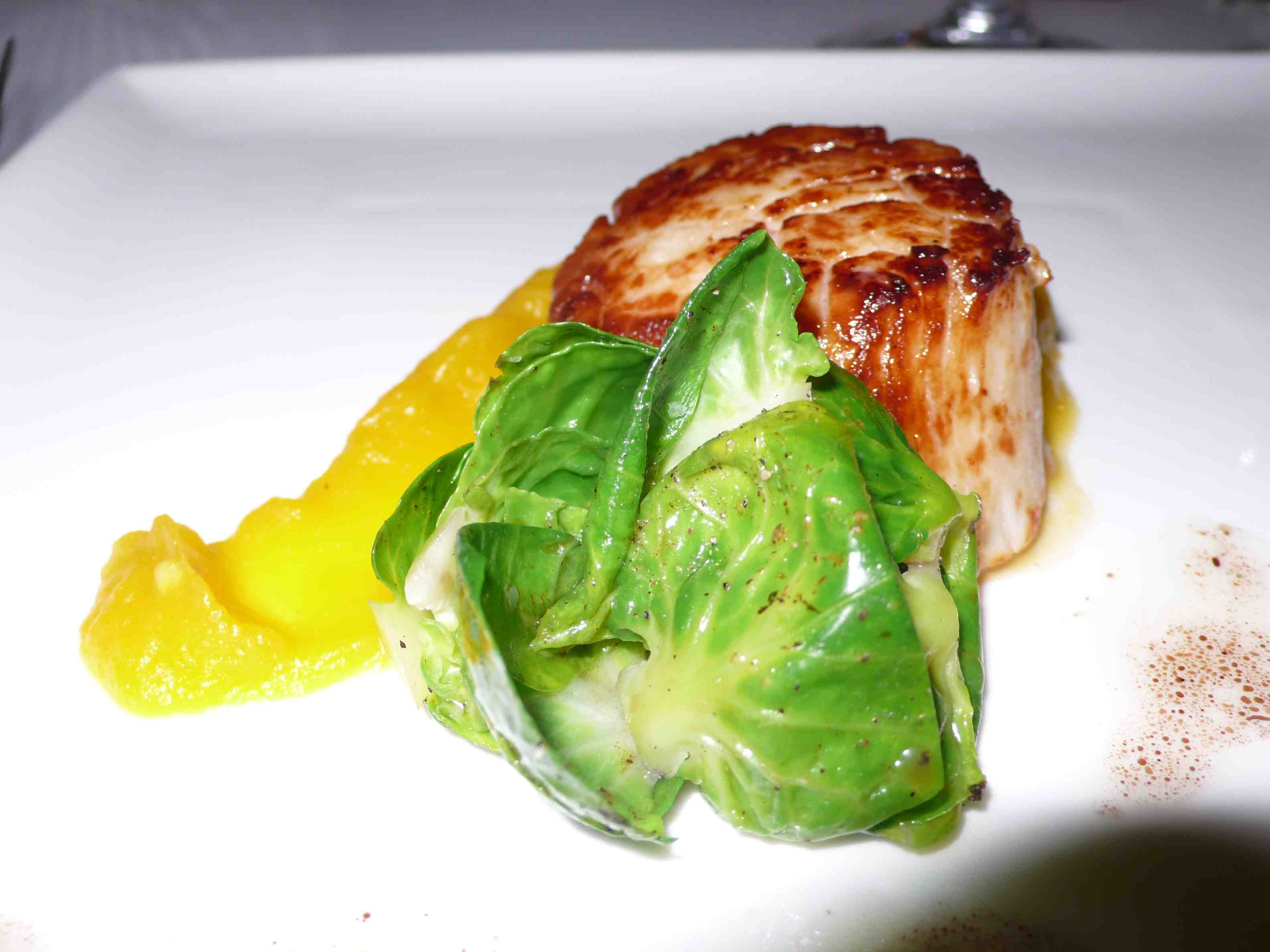 Scallop with squash puree and brussel sprout salad