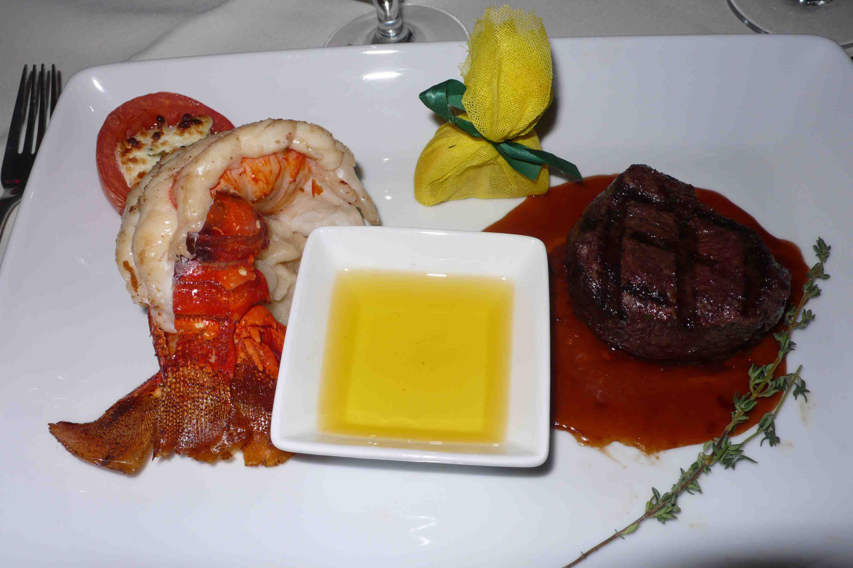 Surf and turf, lobster and filet