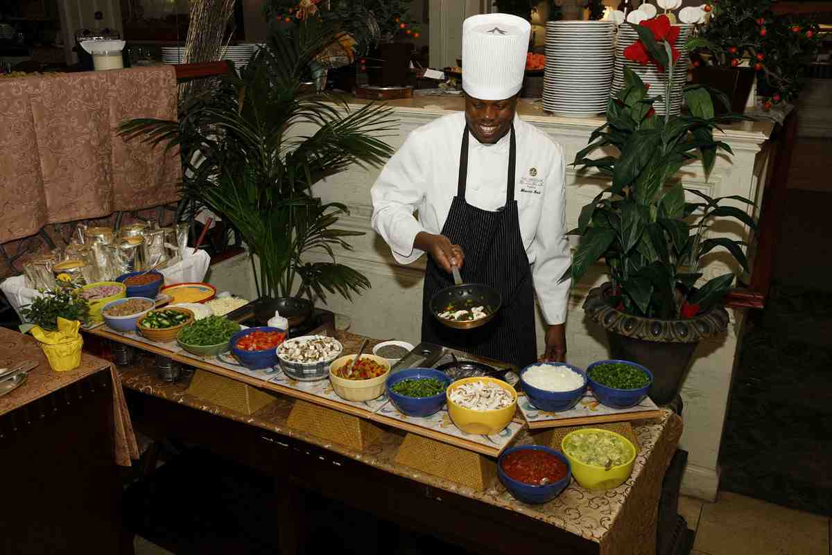 Omelet station at Sunday brunch
