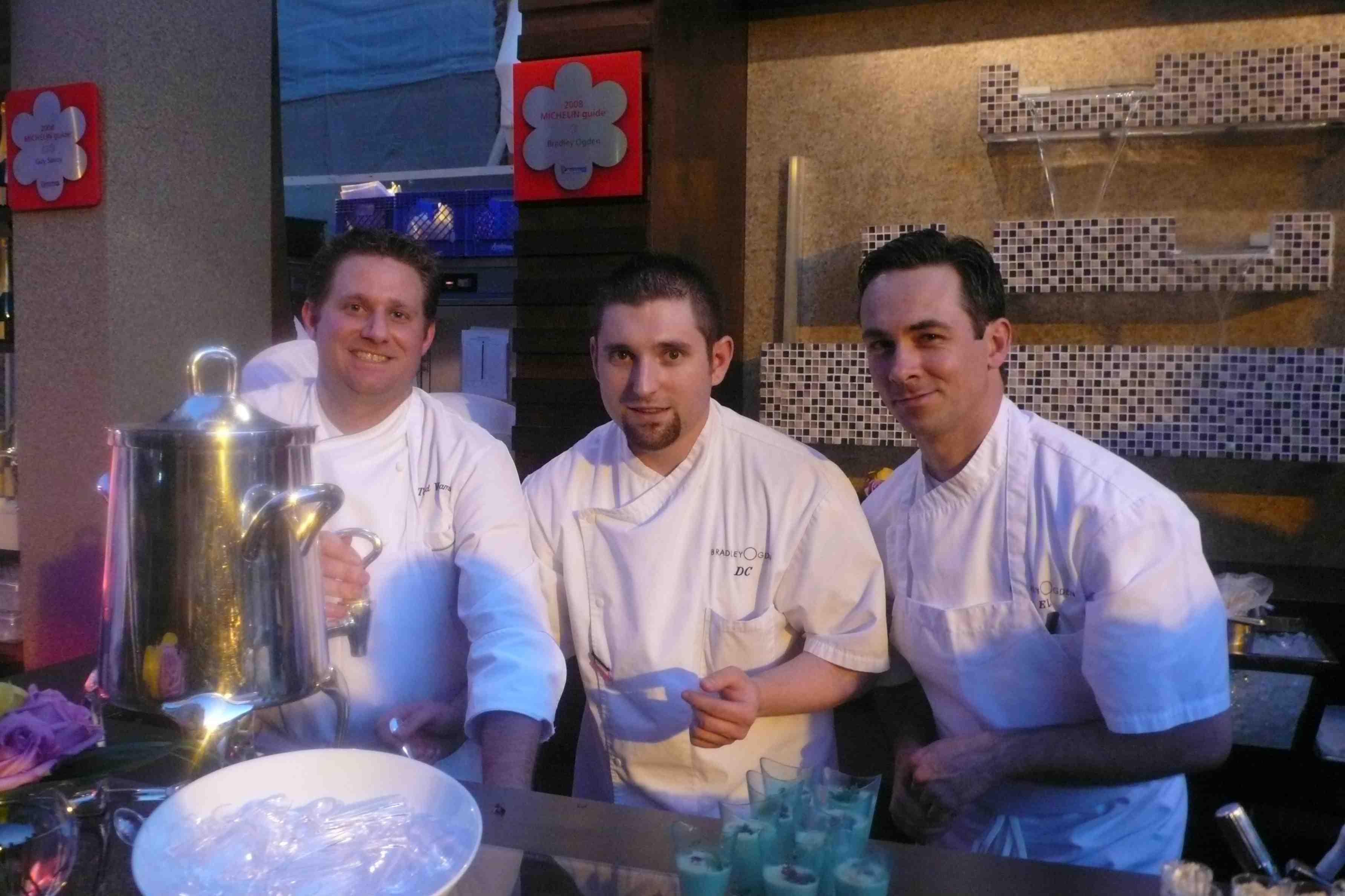 Chefs manning Bradley Ogden booth