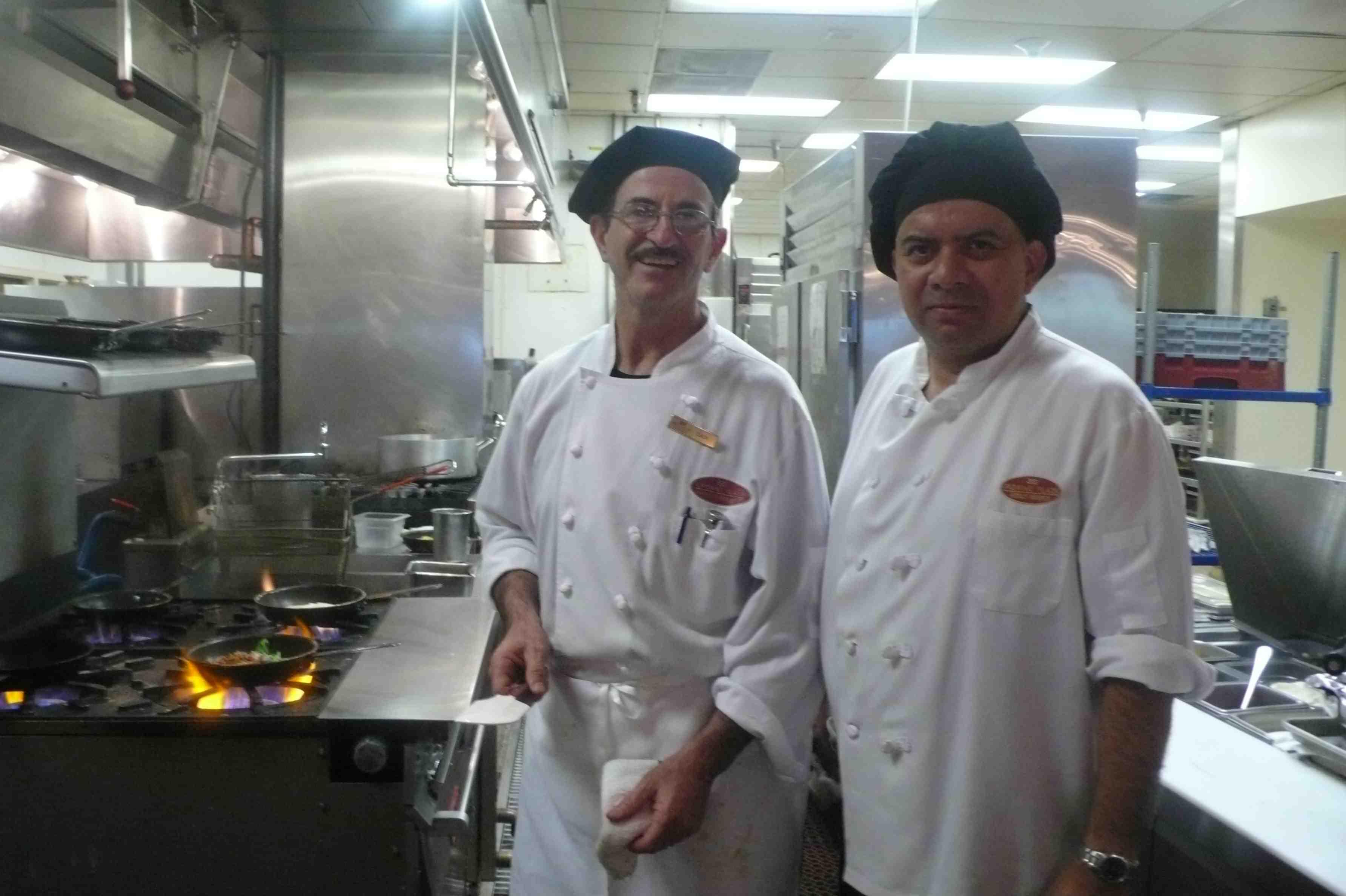 Chefs preparing omelettes