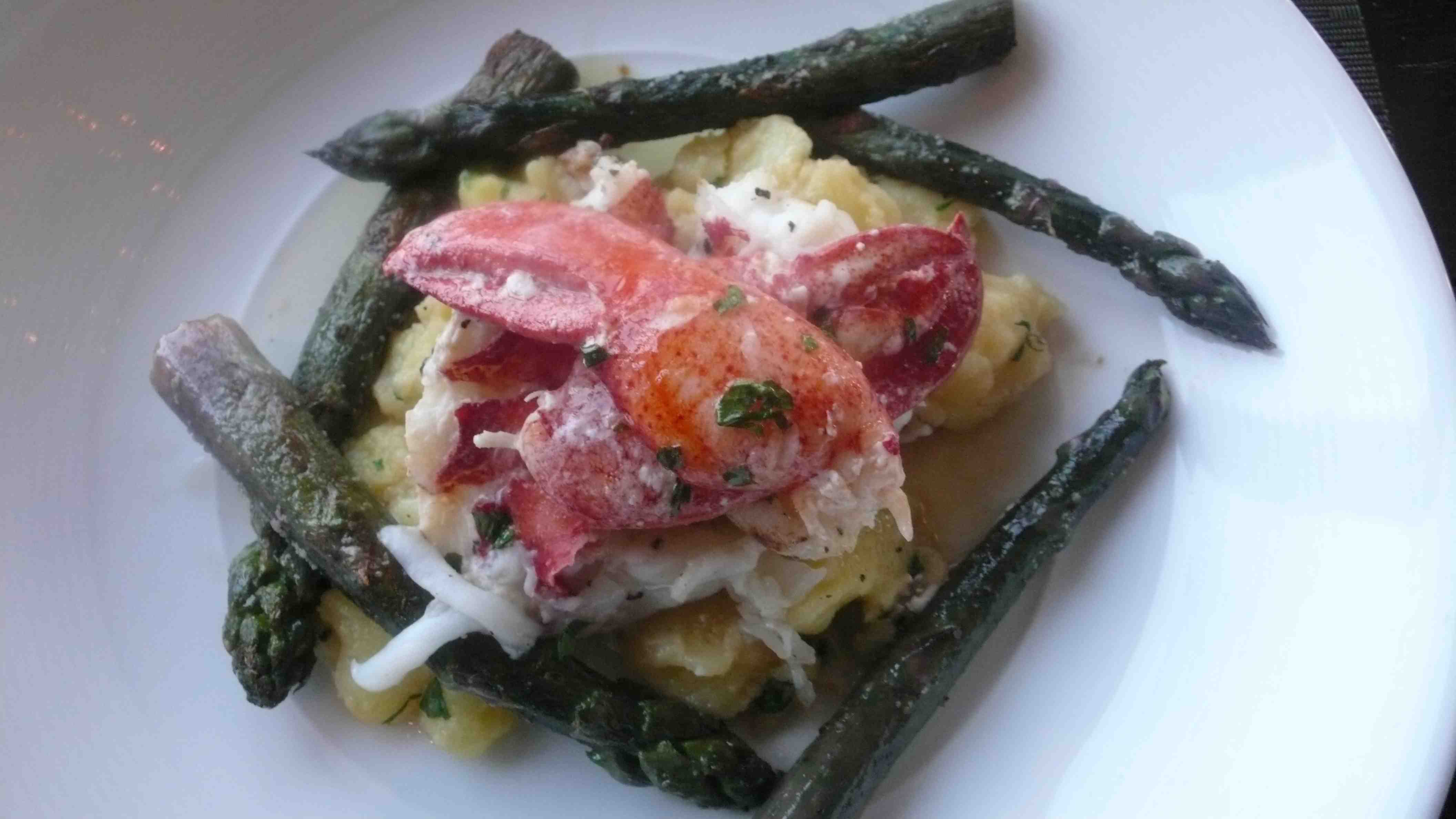 Lobster with asparagus and gnocchi