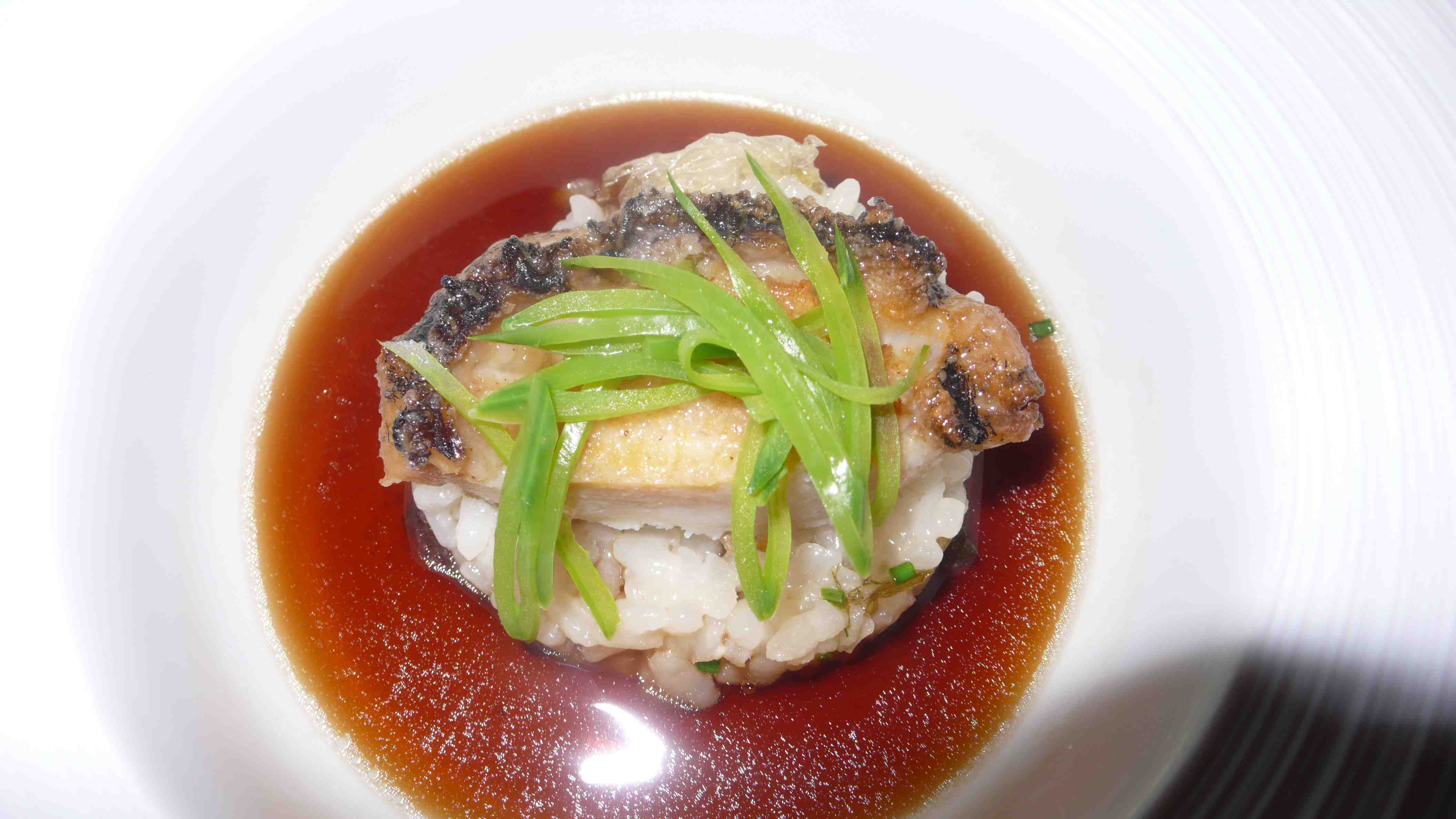 abalone with sugar snap peas, rice with scented mirin