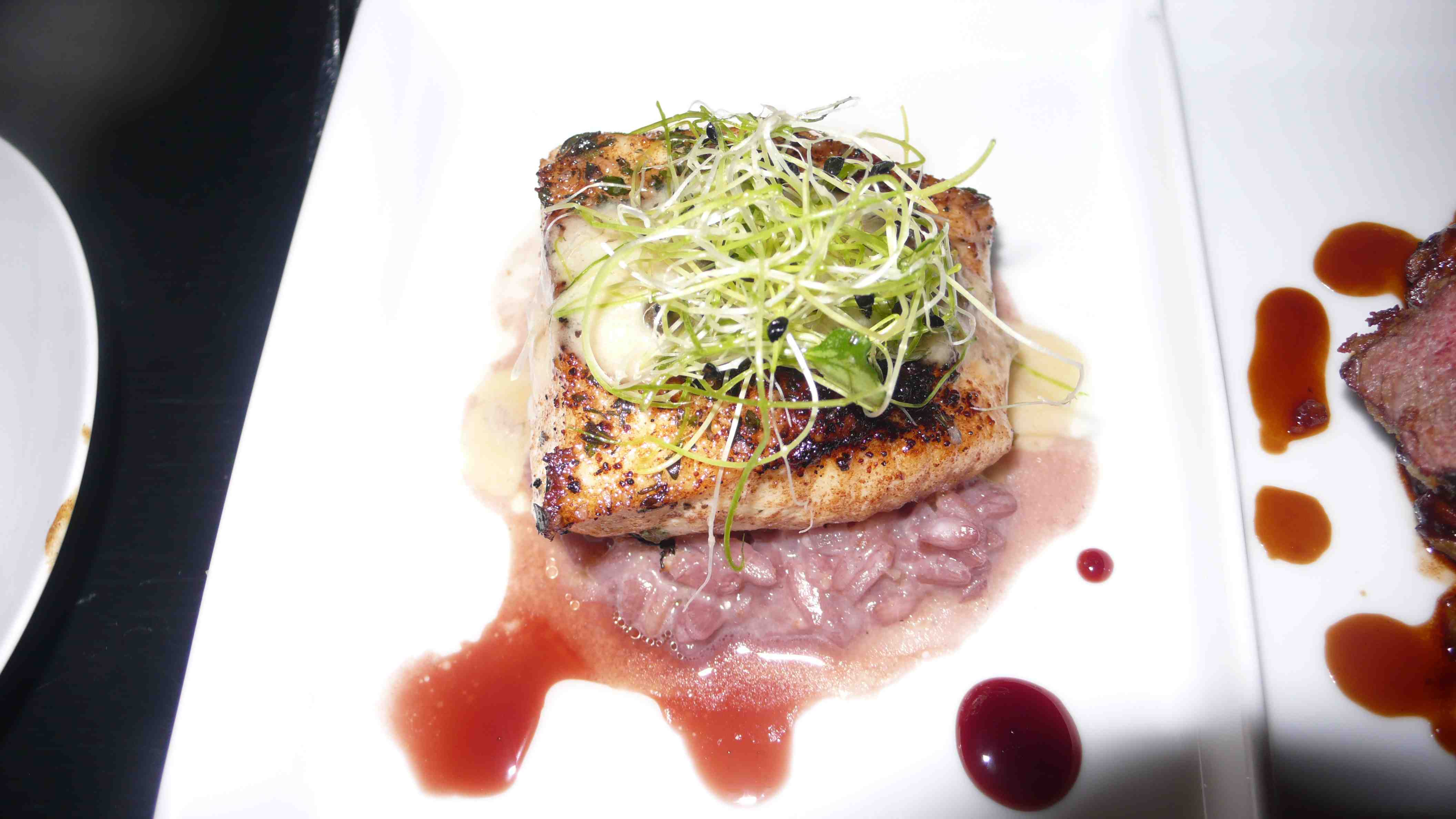 Halibut with red wine risotto