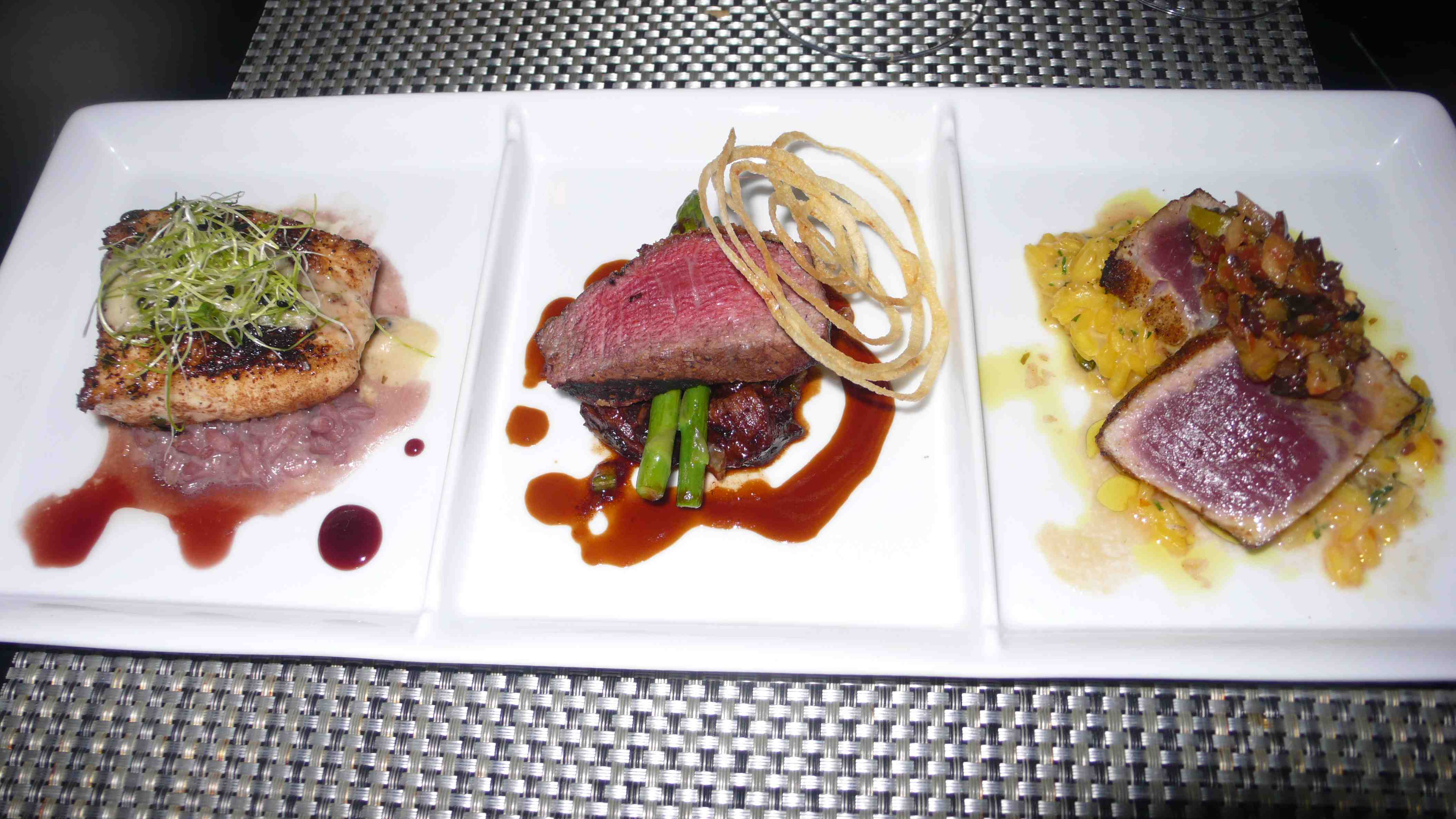 Trio of main dishes