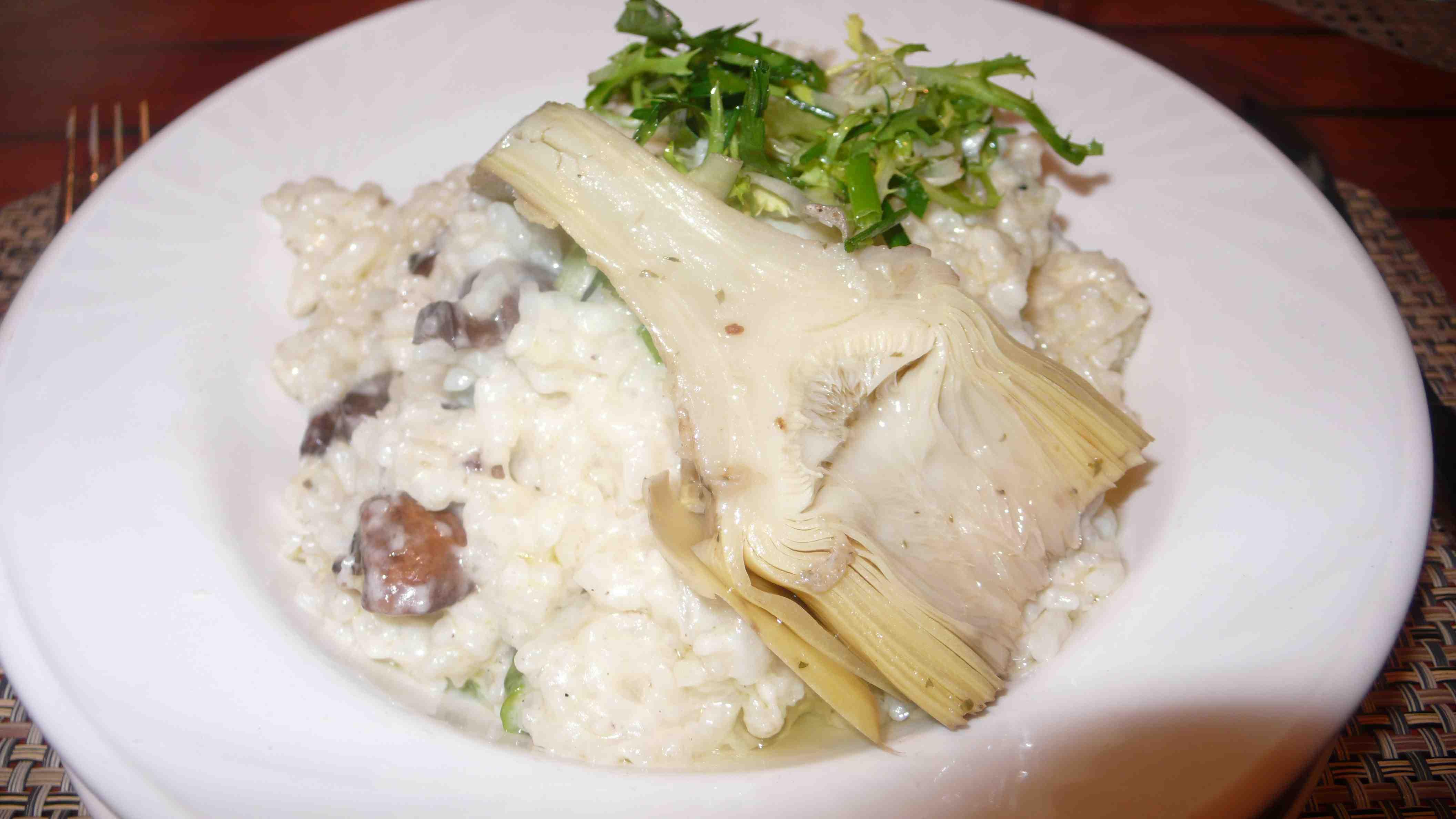 mushroom artichoke heart risotto