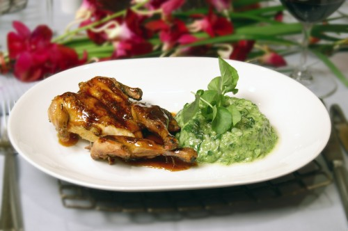 brick pressed chicken with spinach risotto