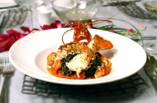 lobster with black pasta