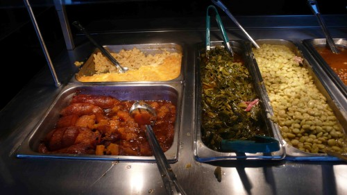 collards, sweet potatoes and mac n cheese