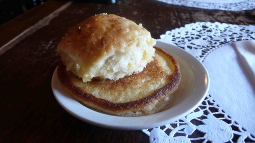cheese biscuit and hoecake