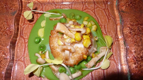 scallop, peas and corn