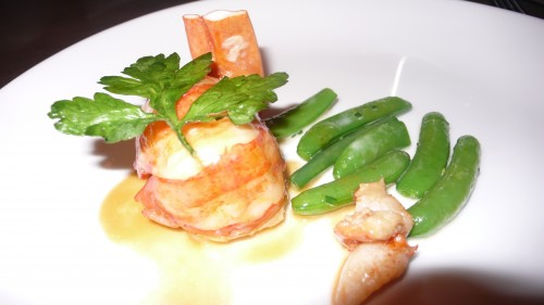lobster with sugar snap peas