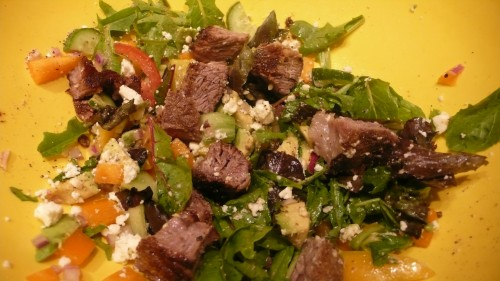steak with spices salad