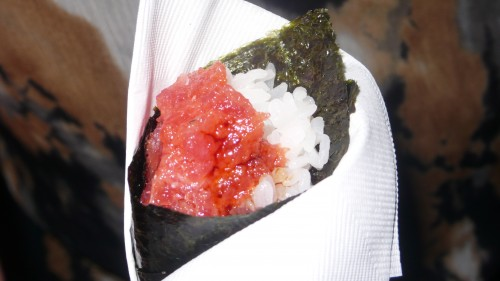 salmon hand rolls