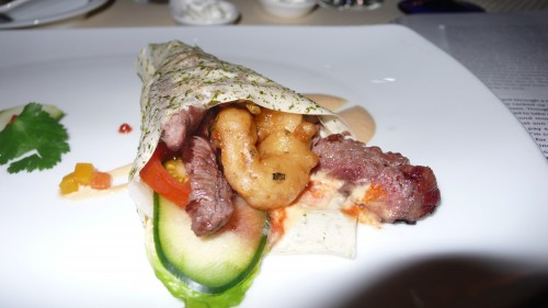 Chicali wrap with steak and shrimp
