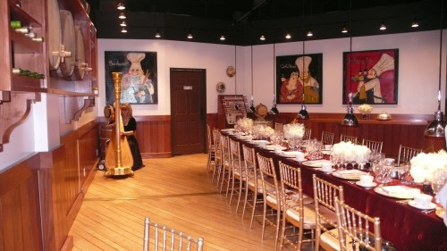 Tables/harp at event