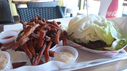 lettuce wraped burger with sweet potato fries