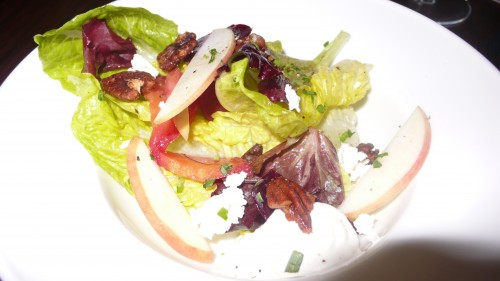 Romaine baby beet goat cheese salad
