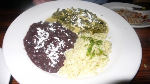 black beans, lemon rice, poblanos