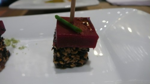 tuna raspberry skewer