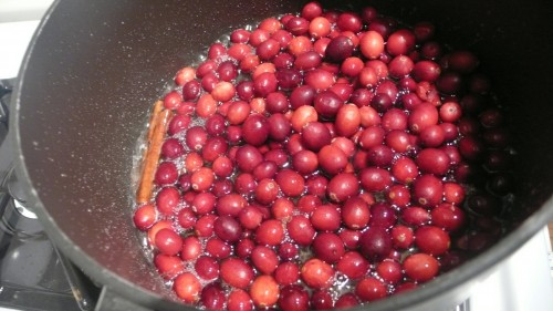 cranberries go into pot