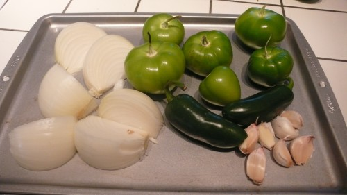 Roast the veggies for the salsa