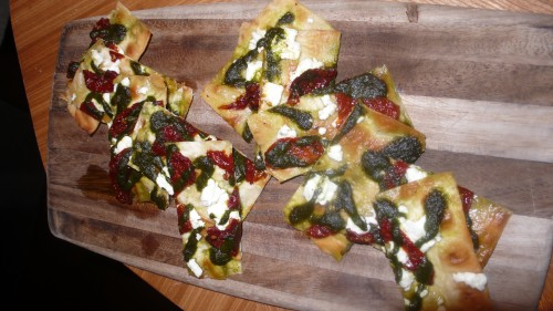 goat cheese tomato flatbread