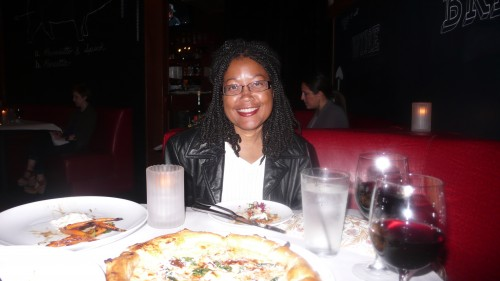 Monica, enjoying the bianca pizza