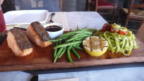 salmon and spinach fettucine