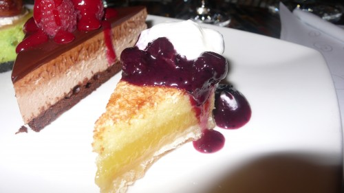 Lemon pie with blueberry puree