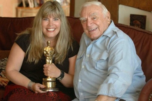 Ernest Borgnine, I'm holding his Oscar for Marty