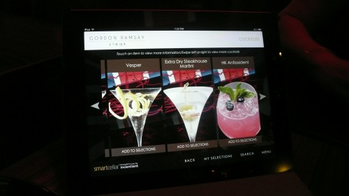 iPad displays cocktail menu