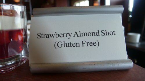 strawberry almond shot sign