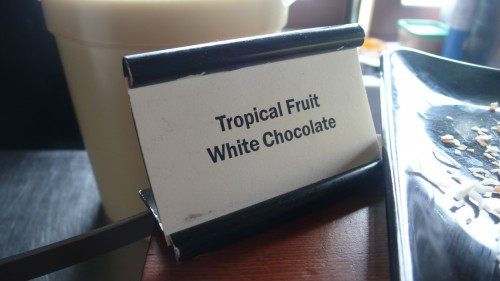 tropical fruit cake sign