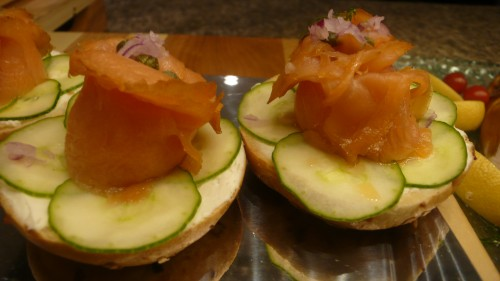 salmon, cucumber and bagel