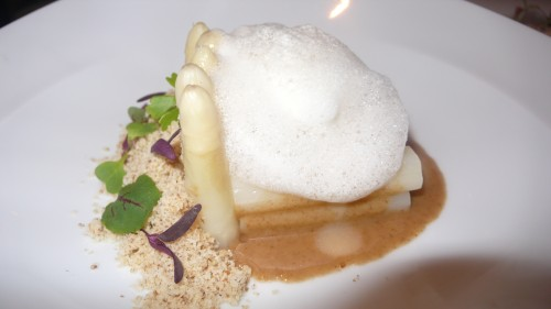 white asparagus with miso