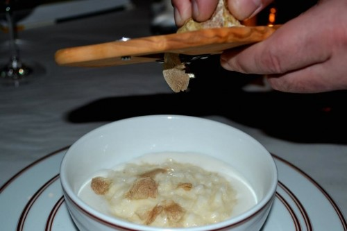 truffles going into risotto