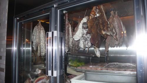 salami/meat case