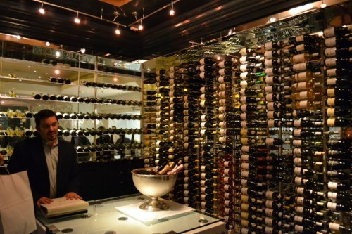 Manager Matt Nathanson shows us the wine room
