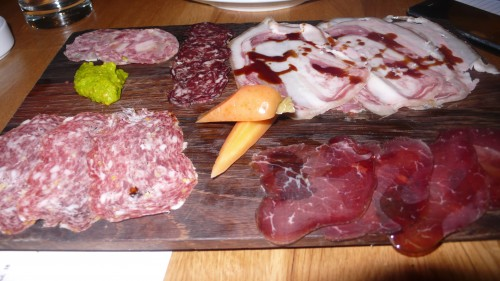 salami board at Bestia