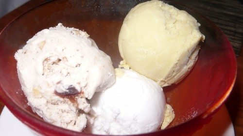 trio of ice creams
