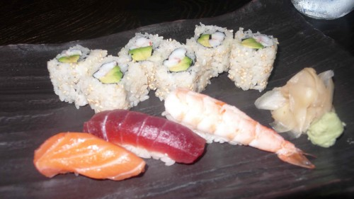 variety of sushi and rolls