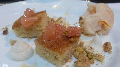 cake with grapefruit, coconut and pistachio